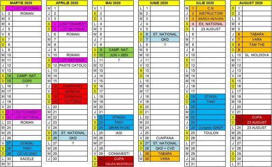 Calendar competitional 2019-2020-2